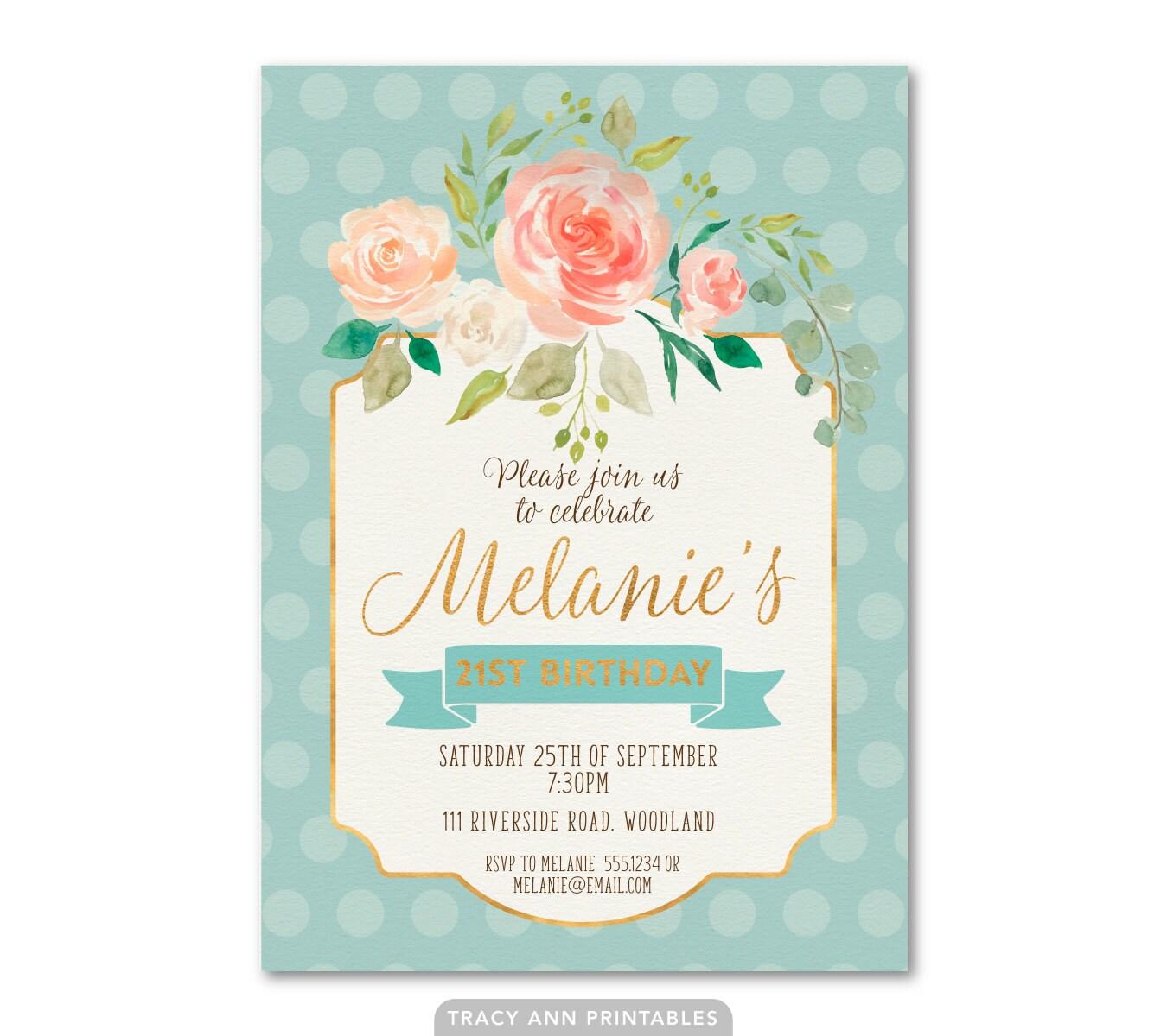 21st Birthday Invitation, Floral Blue Birthday Invite, Vintage Style ...