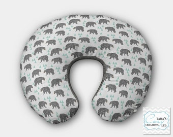 Bear Boppy Cover- Designer Minky Change pad Cover- Designer Minky- Charcoal Minky Minky Boppy Cover- Bear Bedding - Bear Nursery-