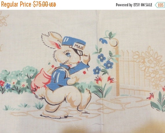 ON SALE Vintage Cotton Fabric with Cute Baby AnimalsBunnies-Bluebirds-Puppies-Pigs-Birds-Childrens Apron-Smock-Old Stock-Easter-Nursery-ADOR