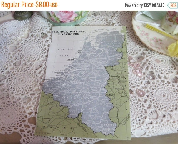ON SALE Original Color Atlas Map-Book Plate-Bookplate-French-Germany