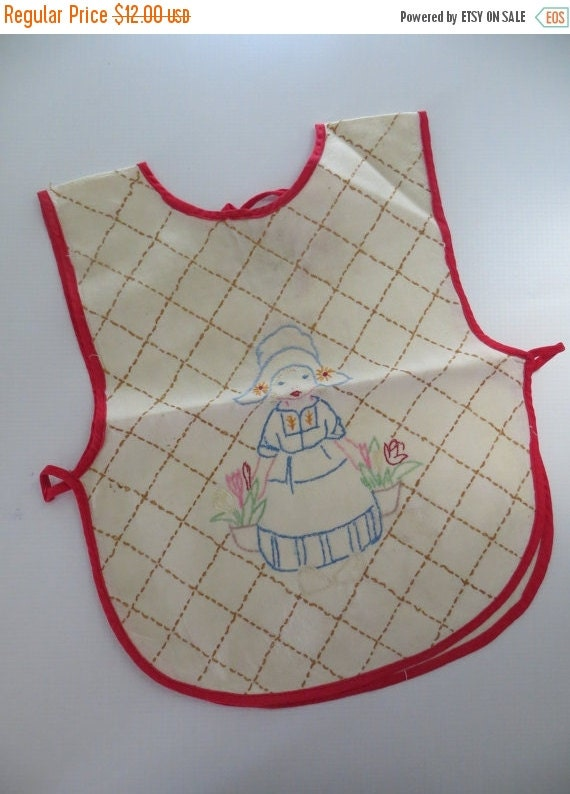 ON SALE Vintage Embroidered-Baby Bib-Dutch Girl