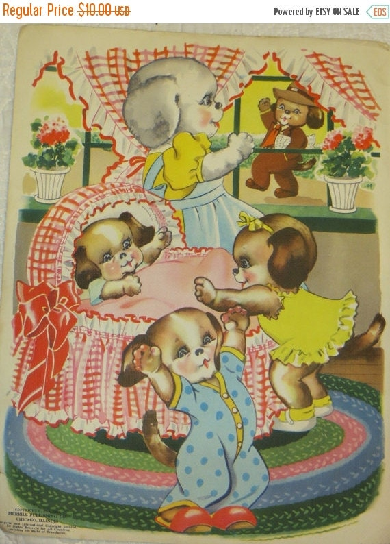 ON SALE Vintage Ruth Newton Childrens Nursery Rhyme Book Print-Puppies Family-Book Plate