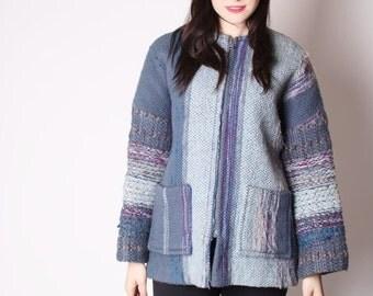Final SALE 55% Off - Vintage 60s Wool Woven Slate Blue Coat / Woven Coat / Blue Woven Coat / 60s Wool Coat / Vintage Coats / 1951