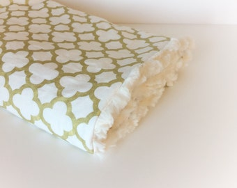Baby Girls Blanket - LOVEY Stroller Blanket / GOLD Baby Blankets / Minky Blanket / Baby Girl Nursery Blanket -READY to Ship Gifts