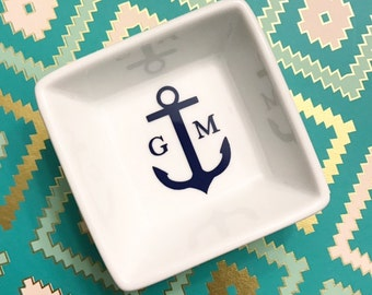 Nautical Anchor and Initial Ring Dish | Engagement Ring Dish | Ring Holder | Bride | Couple | Porcelain | Jewlery Dish | Diamond