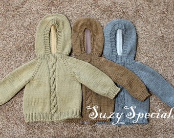 Hooded Knitted Baby Sweater with Back Zipper in Earth Tones Ready to Ship