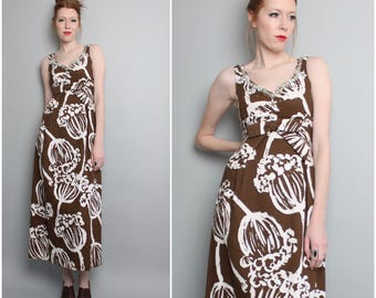 1960's Maxi Dress / Mod Floral / 60s Formal / Small