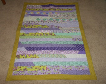 Proceeds go to Charity - Green, Purple Flannel, Jelly Roll Baby Quilt - For a Girl or Boy!