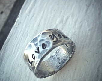 10 dollars off: Custom Thick Sterling Silver Ring - Engraved Both Inside and Outside - Choose from 14 Fonts