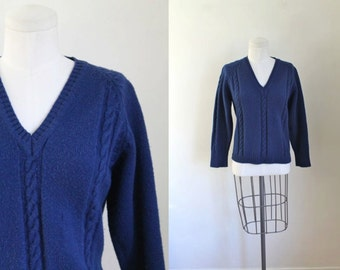 50% OFF...last call // vintage 1950s wool sweater - SEA CAVE cable knit pullover / s/m