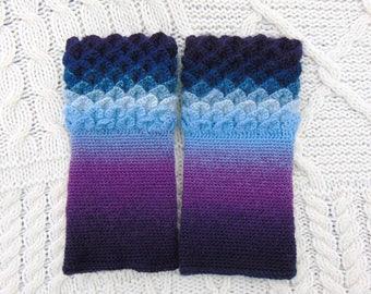 Crochet Wristwarmers, Dragon Scale Cuffs, Blue Ombre Wristwarmers, Crocodile Stitch Crochet Wrist Warmers Wrist Cuffs Handmade in Ireland