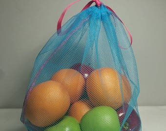 Single Reusable Produce Bag - (Select from S, M, L, XL) - Choose from 5 Mesh Colors- Lime Green Ribbon and Thread - Market Bag