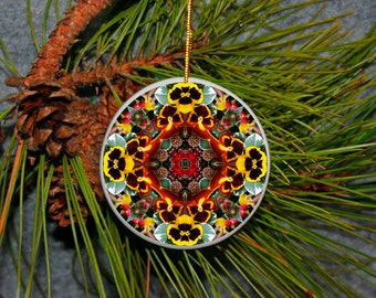 Ornament Christmas Ceramic Pansy Mandala All Occasion Sacred Geometry Kaleidoscope Boho Chic New Age Bohemian Modern Unique Mod Minutia