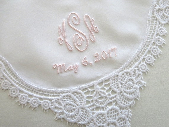 Wedding Handkerchief with 3-Initial Monogram and Date
