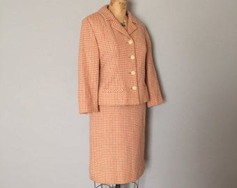 40% OFF SALE... peach and nude houndstooth wool set   crop button front jacket and mini skirt
