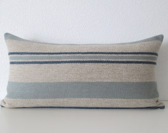 Blue Textured Striped 8x16 Mini Lumbar Pillow Cover