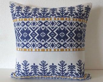 Aztec City Cobalt Blue Pillow Cover