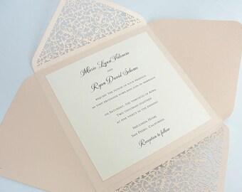 Lacey Wedding Invitation Blush, Romantic Vintage Wedding Invitations, Graceful Lace Wedding Invitations, FOLDER-CORAL BLUSH