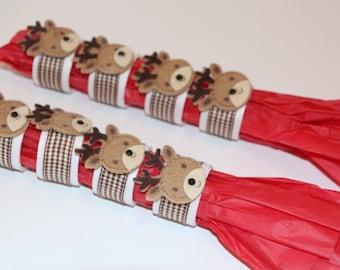 Reindeer Napkin Rings Set of 8