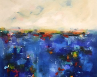 Large Colorful Abstract Seascape- Ocean Color 40 x 40