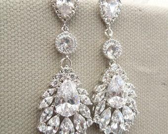 Bridal crystal earrings Wedding Rhinestone Earrings Cubic Zirconia statement earrings Wedding Earrings Rhinestone chandelier Earrings SAMMY