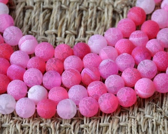 8mm hot pink weathering dyed agate stone nugget stone Beads, stone beads,agate stone beads loose strands