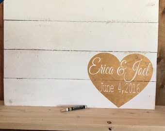 Wedding Guest Book, Guest Book Alternative, Rustic Guest book, Hand Painted Sign, Wedding Sign, Personalized Wedding, handmade wedding