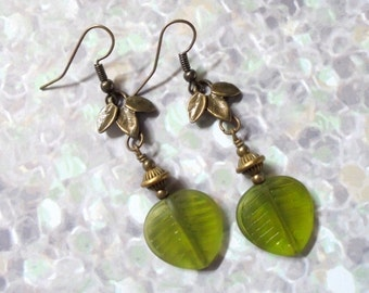 Green and Brass Leaf Earrings (3114)