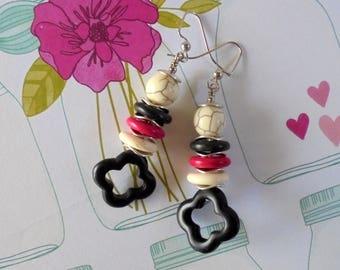 Black, White, Pink and Silver Boho Earrings (3539)