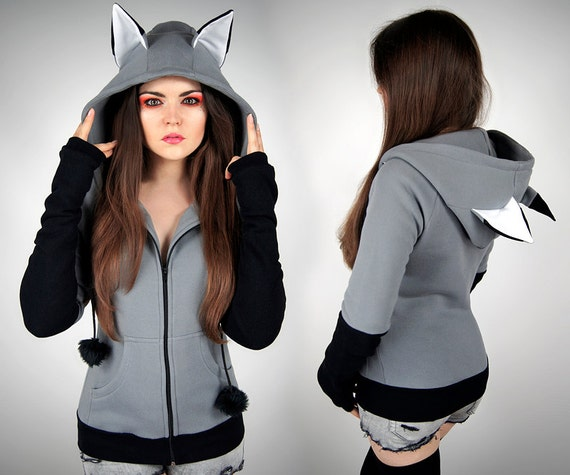 Hoodie wolf grey fox black kawaii nerd cosplay anime ears goth