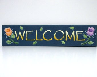 Welcome Sign with Peach and Purple Flowers, Welcome in Shades of Yellow, Hand Painted, Reclaimed Pine Wood Sign, Welcome Sign, Spring Sign