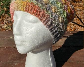 Hand Spun Hand Crocheted Wool Hat rainbow