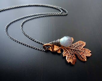 Copper Oak leaf Necklace, Labradorite, Wire Wrapped, Sterling Silver, Oxidized, Small Leaf Pendant