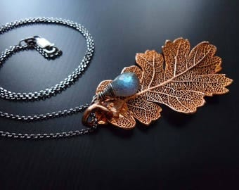 Copper Oak leaf Necklace, Labradorite, Wire Wrapped, Sterling Silver, Oxidized, Large Leaf Pendant