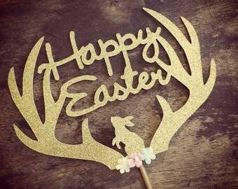 Easter Cake Topper. Antlers Cake Topper. Easter