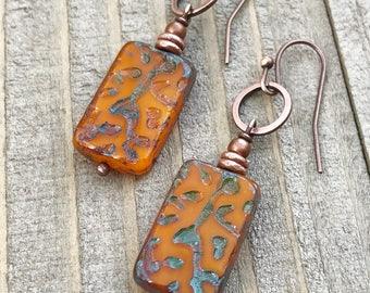 Orange earrings, orange jewelry, Czech glass earrings, dangle earrings, drop earrings, boho jewelry, copper earrings