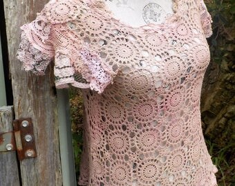 dusty pink tattered crochet and lace top - bohemian wearable art top - alternative romantic - medium / large