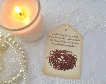 Candle Favor Tags Baby Shower Bird Nest Eggs Set of 10