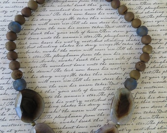 Beautiful Agate Slices Gold Toned Druzy And Brown African Sea Glass Beaded Necklace