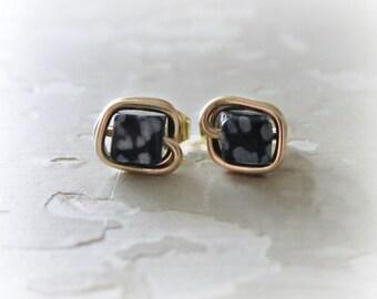 Cube Stud Earrings, Square Post Earrings, Gold Post Earrings, Snowflake Obsidian Studs, Stone Stud Earrings, Black White Studs, Gold Studs