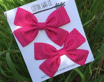 Piggy tail set--You choose color MEDIUM size |Cali bow| Baby or toddler nylon headband or clip