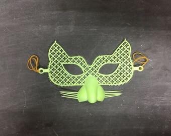 Set of 5 Green Vintage Plastic Mesh Cat Masks, Retro Cat Masks, Birthday Party Masks, Masquerade Masks