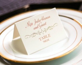 """Coral and Gold Place Card, Wedding Placecards, Dinner Placecards, Special Event Seating - """"Enchanting Vintage"""" Tented Placecard v4 - DEPOSIT"""