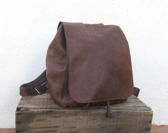 90s DKNY Leather Minimal Modern Backpack Brown Slouchy Travel Bag