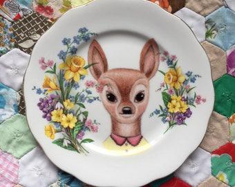 Little Daffodil Doe Vintage Illustrated Plate