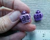 Purple Mardi Gras King Crown Bead Earrings - Post or Clip on
