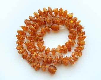 """13.2 """" Natural Baltic Amber baby teething necklace, raw beads, max effect, child necklace"""