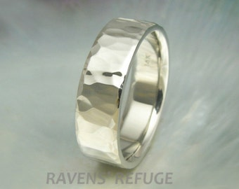 8mm wide hammered white gold wedding band, men's band, waterfall