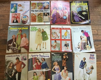 Vintage 1970's Spinnerin Minibook Knitting Magazine Lot Instructions Patterns