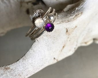 Amethyst and Moonstone Stacker Rings